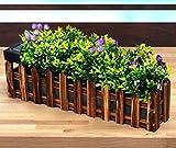 BURI LED Solar-Blumenkasten Gartenzaun 36cm mit Kunstpflanzen Gartendeko Balkonkasten