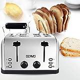 OZAVO Toaster 4 Scheiben, Brötchenaufsatz, 7 Bräunungsstufen, Zentrierfunktion, mit Abnehmbarer Krümelschublade, Edelstahlgehäuse, 1500W - 2