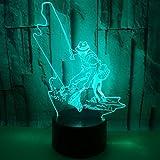 Hombre de pesca 3D LED Iluminación USB Control remoto Multicolor Touch Dormitorio Lámpara de mesa Sala de estar Decorativa Luz nocturna Regalos para amigos