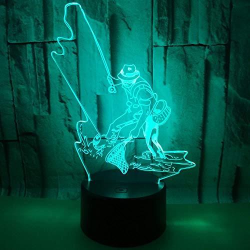 Fischen Mann 3D Tischlampe Kinder Spielzeug Geschenk LED USB-Beleuchtung Remote Multicolor Schlafzimmer Dekoration Wohnzimmer Nachtlicht Freunde