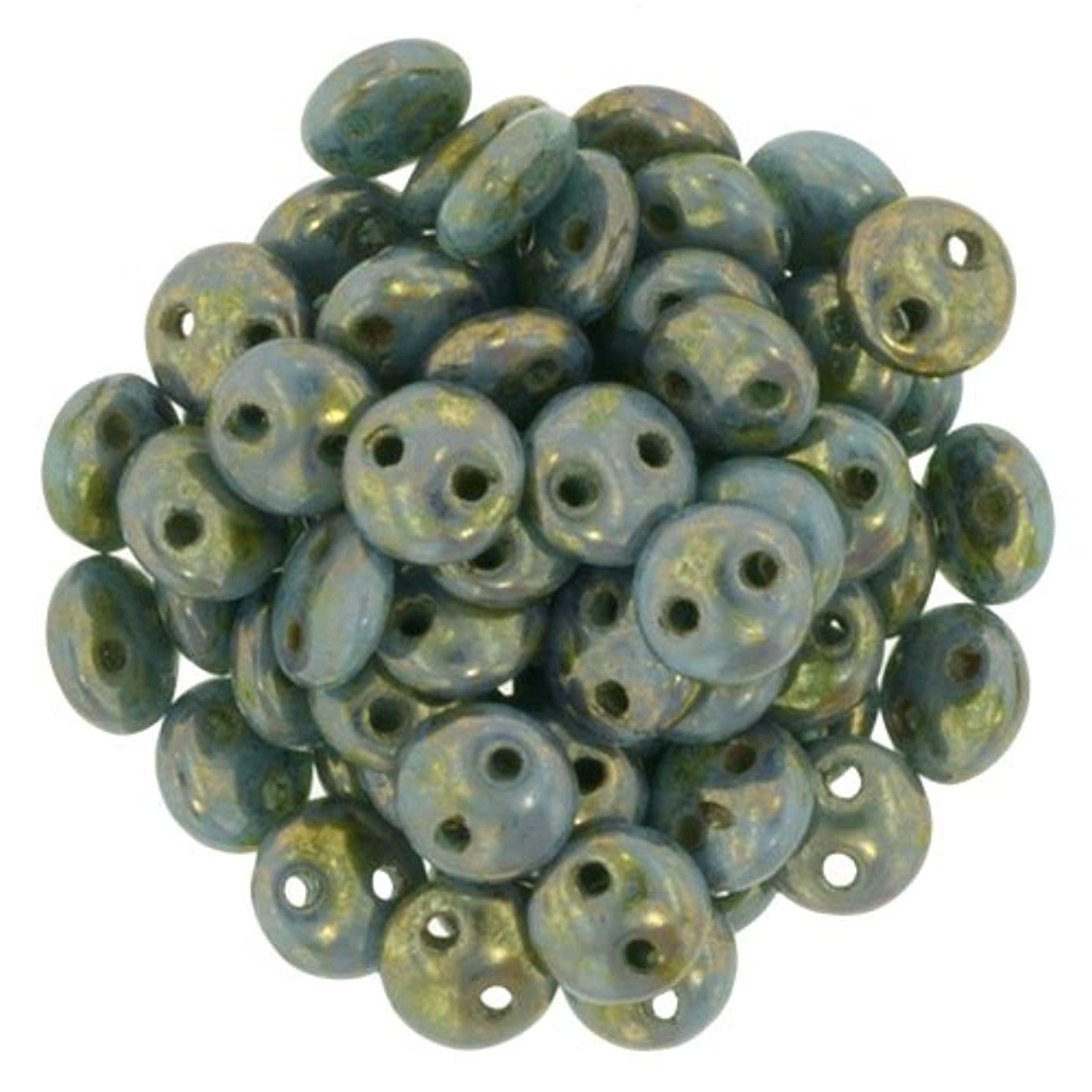 Czechmate 6mm Lentil Glass Czech Two Hole Bead - Bronze Picasso/Turquoise (50 beads)