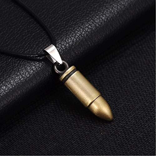 KJFUN Nouvelle Arrivée Hommes Punk Pendentif Collier Gothique Vintage Noir Ruban Couleur Bullet en Cuir Corde Choker Bijoux