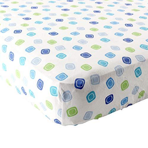 Luvable Friends Geometric Print Fitted Knit Crib Sheet, Bleu