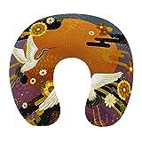 CIKYOWAY Almohada Viaje,King Patrón de crisantemo de pájaro de grúa Tradicional Japonesa,Espuma de Memoria cojín de Cuello,Almohadas de Acampada,Soporte de Cuello para Viaje Coche