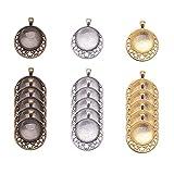 Pandahall Elite 18 piezas de estilo tibetano plano redondo con colgante de aleación de estrella con 20 piezas de cabujón de cristal transparente para la fabricación de joyas