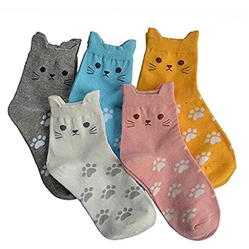 SHOBDW Mujeres Calcetines divertidos Moda Animales lindos Dibujos animados Gato Huellas Patrón Calcetines casuales Suave algodón Tubo Calcetín Fun Funky Novedad Regalo para damas