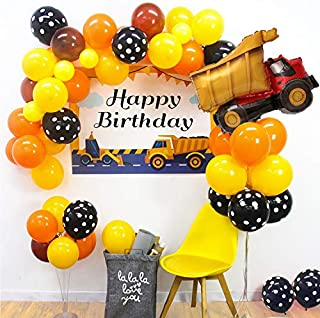 60pcs Construction Truck Theme Balloon Garland Kit Orange Black Yellow Balloon Arch Giant Dump Truck Balloon Perfect for Truck Theme Birthday Party Baby Shower