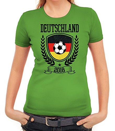 Germany Fußball WM Fanfest Gruppen Fan Damen Frauen T-Shirt Rundhals Pokal Deutschland 2018, Größe: XL,Apfelgrün