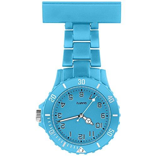 Taffstyle Damen-Uhr Analog Quarz Silikon Uhr Krankenschwesteruhr Kitteluhr mit Nadel Türkis