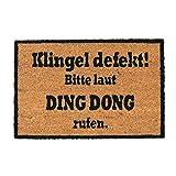 Relaxdays, Natur/schwarz Kokosmatte Ding Dong, Fußmatte aus Kokosfasern, rutschfeste Türmatte, Schmutzfangmatte, 40x60cm, Standard -