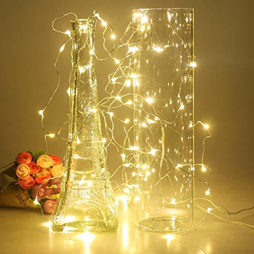 Lámpara de escritorio Cadena de luces de plata LED botella de vino luces con pilas de corcho forma de botella de vidrio tapón lámpara Navidad guirnaldas decoración blanco