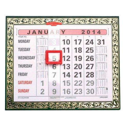 AT-A-GLANCE calendario de pared 2012dorado bloqueado mes para ver con indicador de fecha W248X h203mm Ref 805