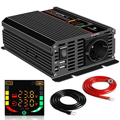 500W KFZ Reiner Sinus Spannungswandler - Auto Wechselrichter 24v auf 230v Umwandler - Inverter Konverter mit 1 EU Steckdose und 2 USB-Port - Spitzenleistung 1000 Watt