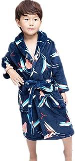 ZXJ Albornoz niños, Niños Espesa la Franela de la Bata de Terciopelo Coral Towelling Robe para los Bebés Niños Niñas,Negro,S