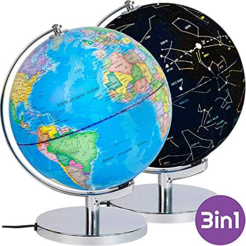 LYNICESHOP Illuminated Constellation World Globe for Kids - 3 in 1 Interactive Globe with Constellations, Light Up Smart Earth Globes of The World with Stand 23CM/9 inch