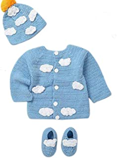 Newborn Cozy Warm Baby Sweater Set -Hand Made Baby Crochet Set -Pink/Blue Knit Cardigan with Booties & hat Gift Set