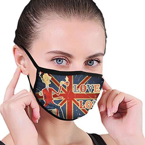 Adjustable Cover Mask,I Love London Quote English Man Drinking Tea on UK Flag Backdrop National Design