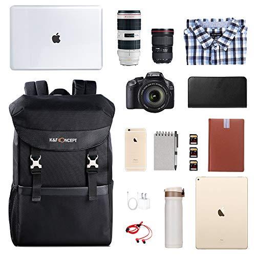 Fotorucksack K&F Concept Faltbarer Kamerarucksack für 15,6 Zoll Laptop und DSLR Spiegelreflexkamera mit Einsatz,20 Liter
