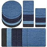 RYMALL Patches zum aufbügeln, 24 Stück 6 Farben Denim Baumwolle Patches Bügeleisen Reparatursatz, Aufbügelflicken Bügelflicken, 4 Größen