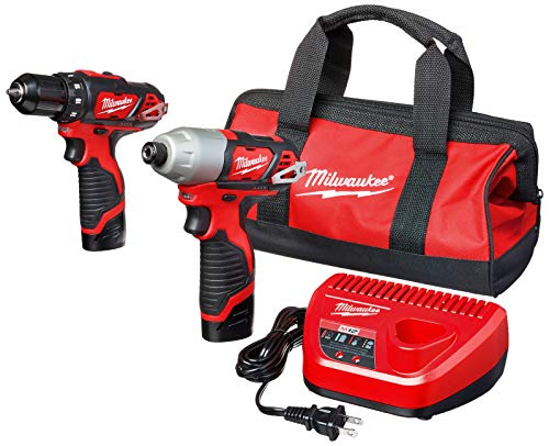 """MILWAUKEE'S 2494-22 M12 Cordless Combination 3/8"""" Drill / Driver and 1/4"""" Hex Impact Driver Dual Power Tool Kit (2 Lithium Ion Batteries, Charger, and Bag Included)"""