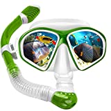Powsure Kids Snorkel Set, Dry Top Snorkel with Swim Mask, Anti-Leak Snorkeling Package of Anti-Fog Tempered Glass Diving Goggles for Children, Boys, Girls,Youth,Junior Child (Green)