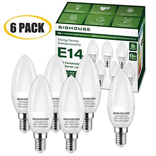 E14 Led Kerze Warmweiss 3000k 5w 400 Lumen E14 Led Lampe Ersatz Fur 40w Halogenlampen C37 Leuchtmittel 270 Abstrahlwinkel Cri 80 220 240v Ac 6