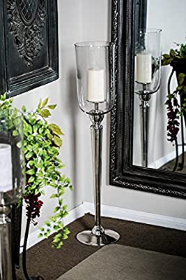 Deco 79 Hurricane Candle Holders, Large, Clear, Silver by Deco 79