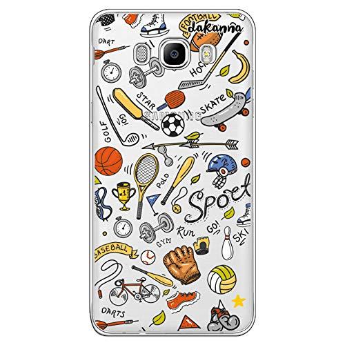 dakanna Funda para [Samsung Galaxy J7 2016] de Silicona Flexible, Dibujo Diseño [Pattern Figuras Deportivas, Tenis, Bicicleta, Futbol, Baloncesto y Gimnasio], Color [Fondo Transparente]