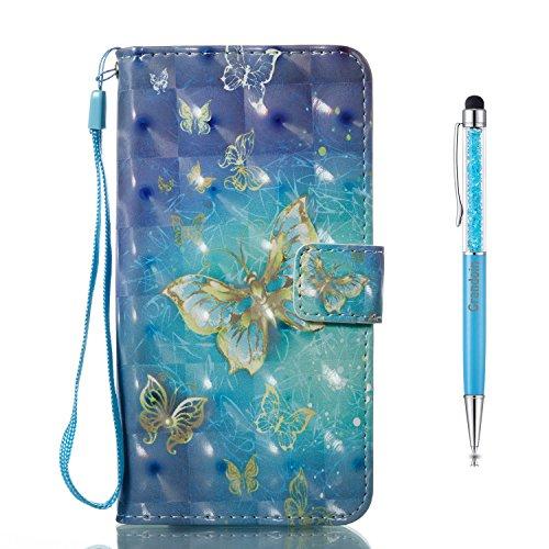 Grandoin iPhone X Hülle, Handyhülle im Brieftasche-Stil für Apple iPhone X Handytasche PU Leder Flip Cover 3D Bunte Muster Book Case Schutzhülle Etui Case (Blau, 1)