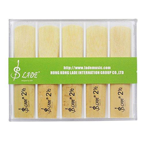 Dilwe 10 Pcs Saxophonblätter, Stärke 2.5 Altsaxophon Sax Bambusblätter mit Kunststoffgehäuse
