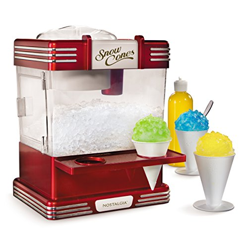 Nostalgia RSM602 Countertop Snow Cone Maker Makes 20 Icy Treats, Includes 2 Reusable Plastic Cups &...