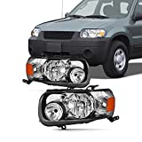 Pair Fits 2005 2006 2007 Ford Escape Headlights [Halogen Type] 05 06 07 Headlamps Driver Left+Passenger Right