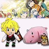 8in Seven Deadly Sins Plush,2/3pcs Soft Stuffed Anime Ban&Meliodas&Hawk Cartoon Dolls for Children and Fans (Meliodas&Hawk)