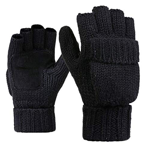 Lowest Price! Hadeflia Unisex Knit Gloves Men Women Winter Warm Pure Wool Brushed Half-Ringer Over B...