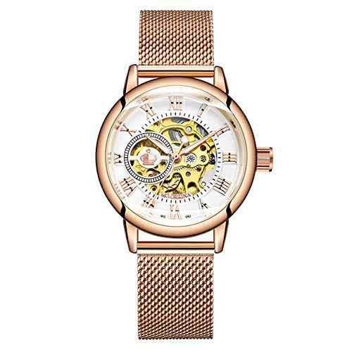 Rose Gold Damen Automatische Mechanische Skelettuhren Mesh Edelstahl Mode Lässig Damen Armbanduhr Geschenke Für Frauen 24cm Roségold weiß