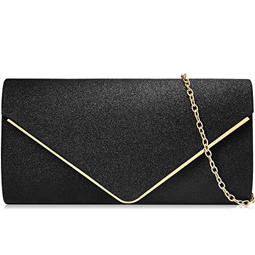 Milisente Women Clutch Bag Classic Satin Clutch Purse Glitter Envelope Evening Bags