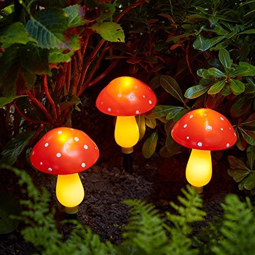 Lights4fun 3er LED Solarleuchte Pilze Solar Lichterkette Fliegenpilze warmweiß
