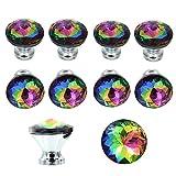 BTSKY® - Pomos de cristal colorido, diámetro 30mm, para cajones y armarios, 10 unidades