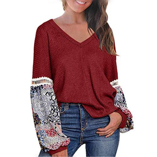 Otoño e Invierno señoras Tops Moda Cuello en V Personalidad Costura impresión Manga Larga Suelta Camiseta Informal X-Large