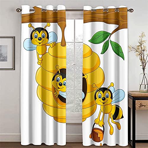 EUPLICCE Cortinas Decorativas Modernas Butterfly Little Bee para Sala De Estar, Estudio Y Dormitorio, Cortinas para Sombrear Y Reducir El Ruido, Juego De 2 (Total Width) 234x(Height) 183cm