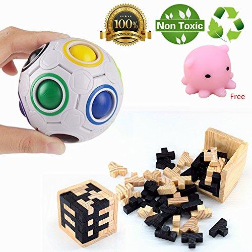 Morbuy Puzzles 3D Juguetes IQ Challenge Toys Puzzle de Cubo para niños Wisdom Ball Pelota Magic Puzzle 100% Child Safe Fidget Squeeze Terapia Relajante (Rainbow Ball + Rompecabezas de Madera 3D)