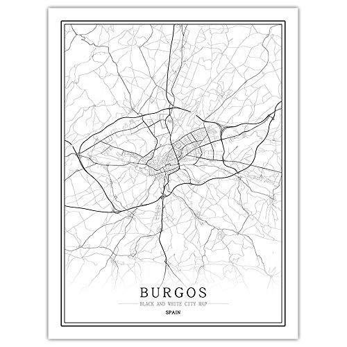 Impresión De Lienzo,Mapa De La Ciudad De Burgos España Arte De Pared Blanco Y Negro Cartel Mural Fotos Pintura Minimalista Modular Simple Boceto Pop Vida Vertical Del Espacio De Oficina Decoración