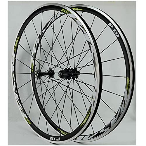 Ruedas de Road Racing 700C, Pared Doble Aleación de Aluminio Freno En V 30 mm Bicicleta Ciclismo Ruedas Llanta para 7 8 9 10 11 12 Velocidades (Size : 700C)