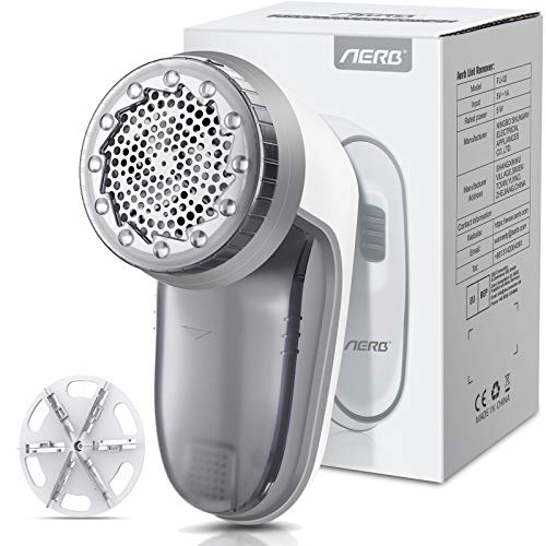 Aerb Fabric Shaver, Rechargeable Electric Lint Remover with USB Charging Cord & Extra Blade Included, 2-Speeds Portable Clothes Shaver with Six Blades for Efficient Bobbles Fuzz Removing