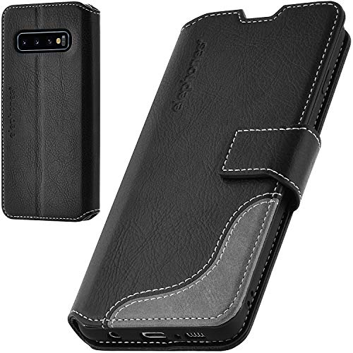 elephones Handyhülle für Samsung Galaxy S10 Plus Hülle mit TÜV geprüftem RFID-Schutz aus Premium PU Leder Flip-Hülle Handy-Tasche Schutz-Hülle Kompatibel mit Samsung Galaxy S10+ Schwarz