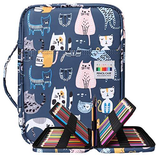 BOMKEE Trousse à crayons colorée 220 Slots Portable Dessiner Peindre Pochette Sac de rangement...