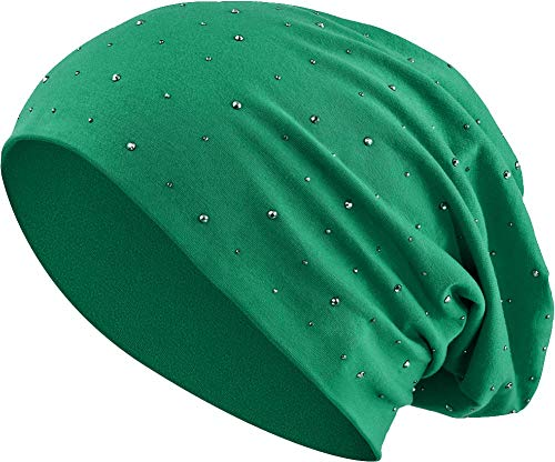Balinco Jersey Baumwolle elastisches Long Slouch Beanie Unisex Herren Damen mit Strass Stern Steinen Mütze Heather in 35 (7) (Dark Green)