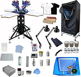 4 Color 4 Station Screen Printing Kit Screen Printing Assembly Screen Drying Cabinet