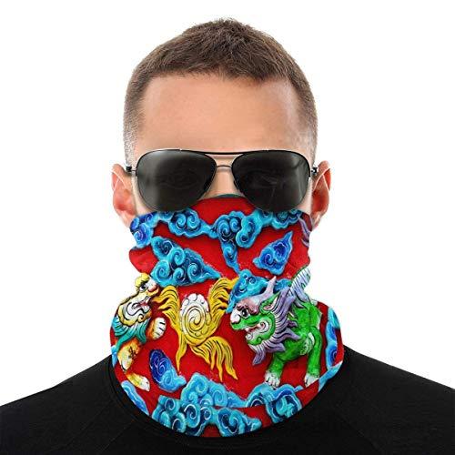 Nother Hermoso colorido león chino auspicioso máscara facial bandanas máscaras, calentador de cuello media bufanda pasamontañas