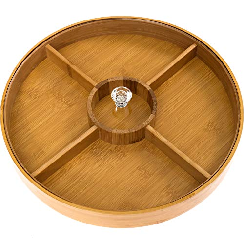 Divided Serving Tray - Bamboo with Acrylic Glass Lid - Appetizer Party Platter - Perfect For Serving Dishes, Serving Platters, Chip And Dip Tray, Veggie Tray, Or Taco Toppings Serving Tray Circle 12'